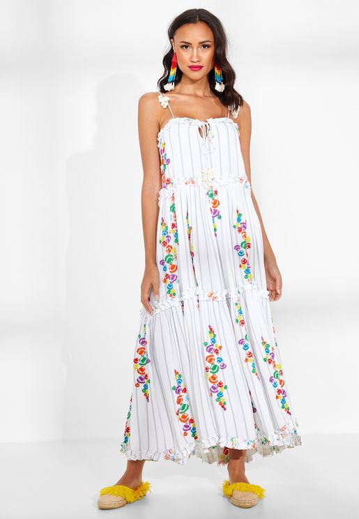 Mady Striped Embroidered Cami Dress