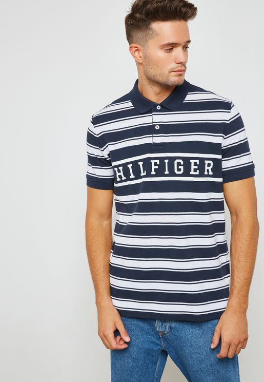 Striped Logo Polo