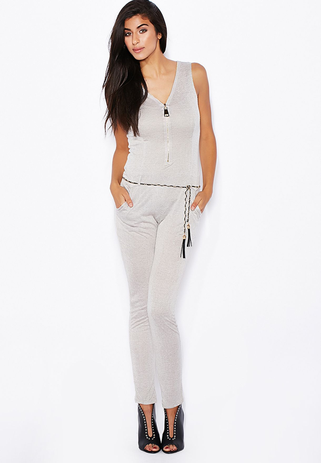 565b6126e72 Shop Ginger grey Zip Front Belted Jumpsuit for Women in Qatar - GI121AT25RQK