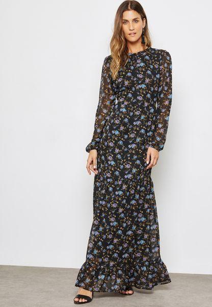 Printed Sheer Sleeve Dress