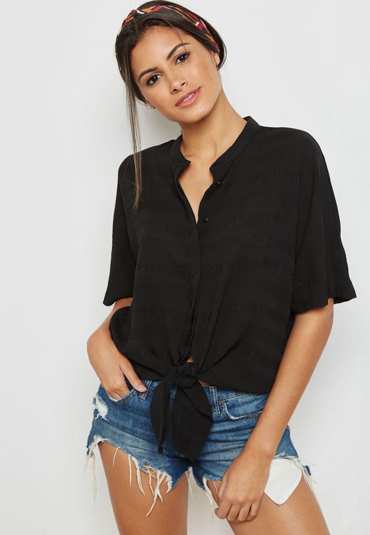 1dbd0219 Shop Jacqueline De Yong black Tie Waist Shirt 15152170 for Women in ...