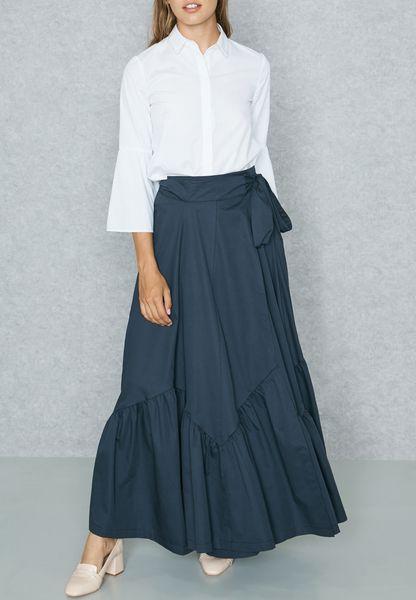 Tie Waist Pleated Wrap Skirt