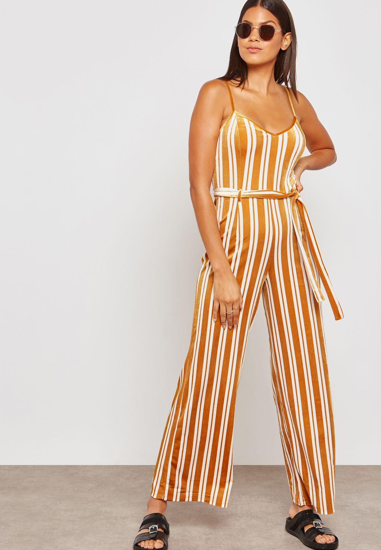 80a92793ee2b Shop Forever 21 yellow Belted Striped Wide Leg Jumpsuit 257105 for ...