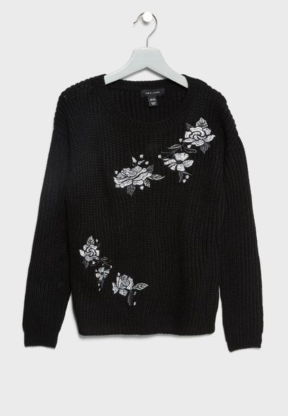 Teen Flower Detail Sweater
