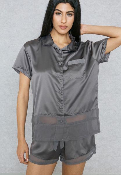 Pocket Detail Pyjama Shorts Set