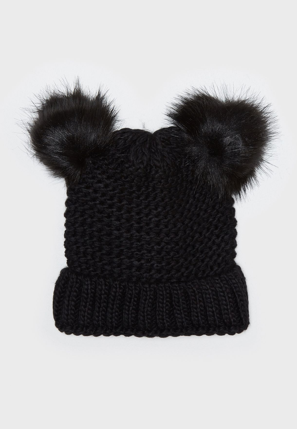 761871e7b27 Shop New Look black Double Faux Fur Pom Beanie 543971301 for Women ...