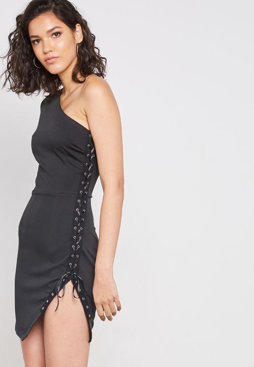 One Shoulder Lace Up Dress