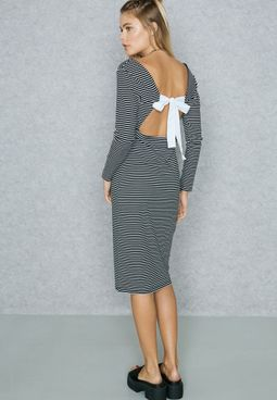 Striped Contrast Tie Back Body