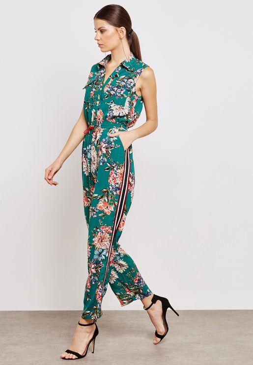 Floral Print Side Paneled Shirt Jumpsuit