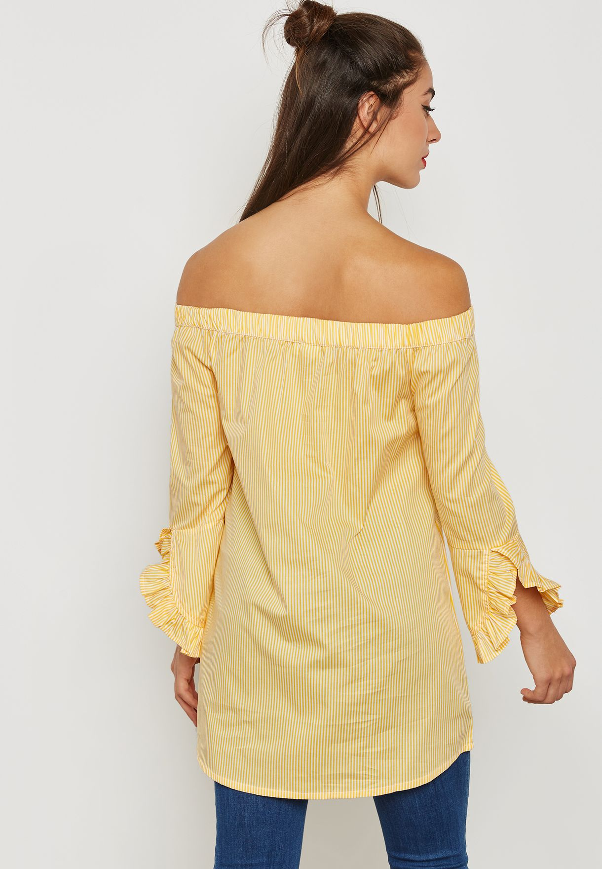 d894134ac0e777 Shop Noisy May yellow Frill Sleeve Bardot Top 27001757 for Women in ...