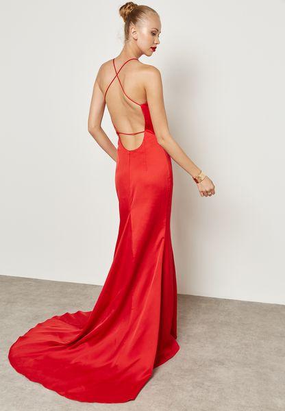 V-Neck Satin Bodycon Dress