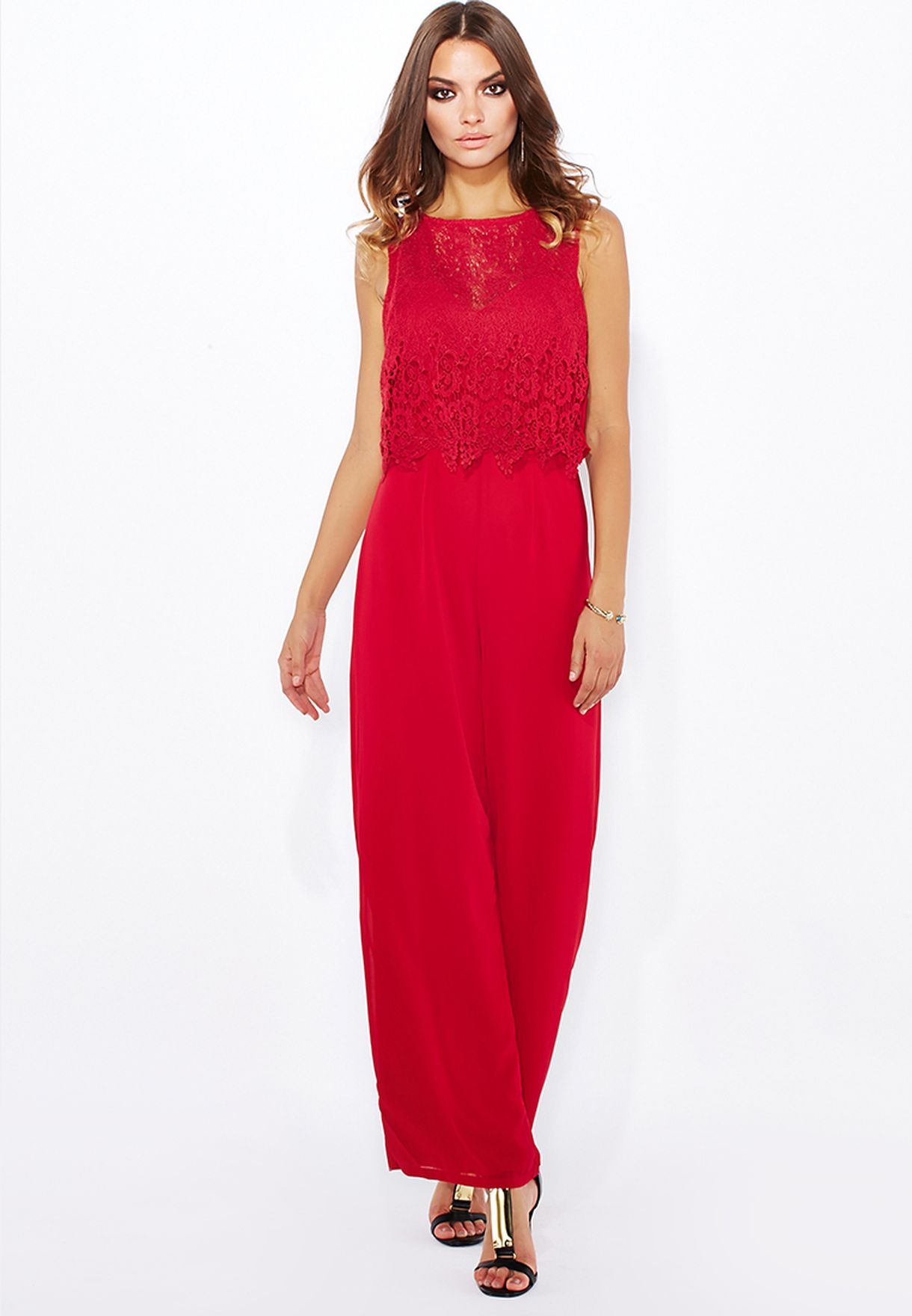ade6f54d45 Shop Ella red Lace Top Overlay Jumpsuit for Women in UAE - EL314AT25BRA