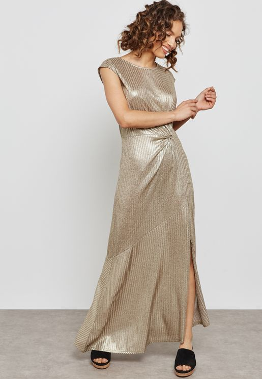 Side Ruched Metallic Dress