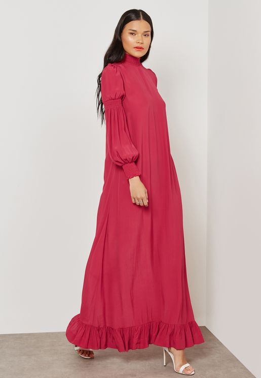 Ruched Sleeve High Neck Maxi Dress