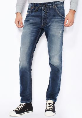Diesel Krooley Relaxed Tapered Fit Mid Wash Jeans