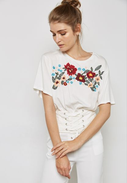 Embroidered Corset T-Shirt