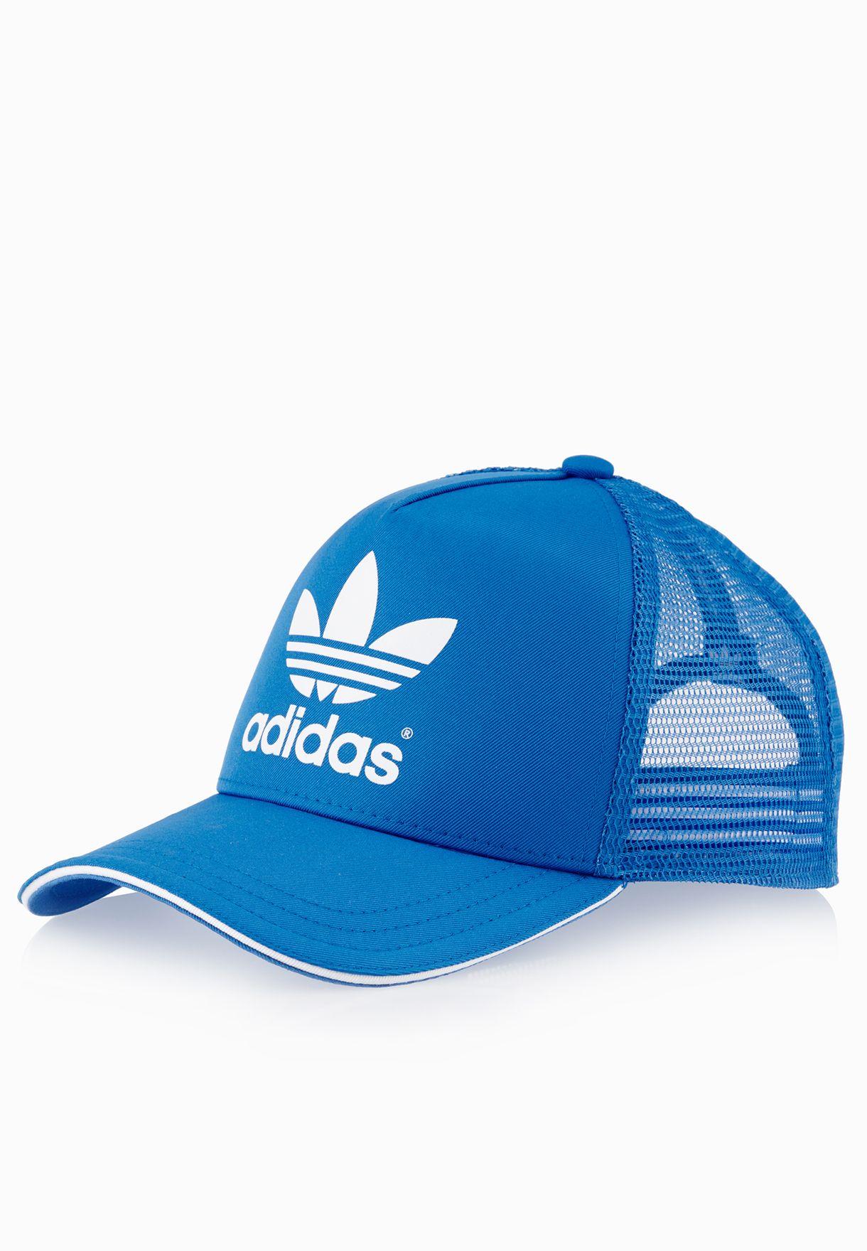 ee8f28942a336 Shop adidas Originals blue Trefoil Trucker Cap AC2487 for Women in ...