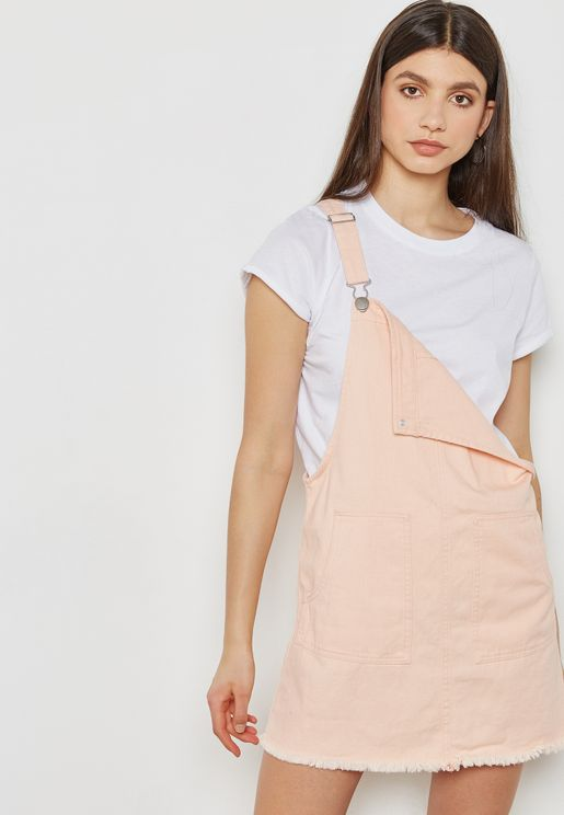 307675c362a Raw Hem Pinafore Dress. Cotton On