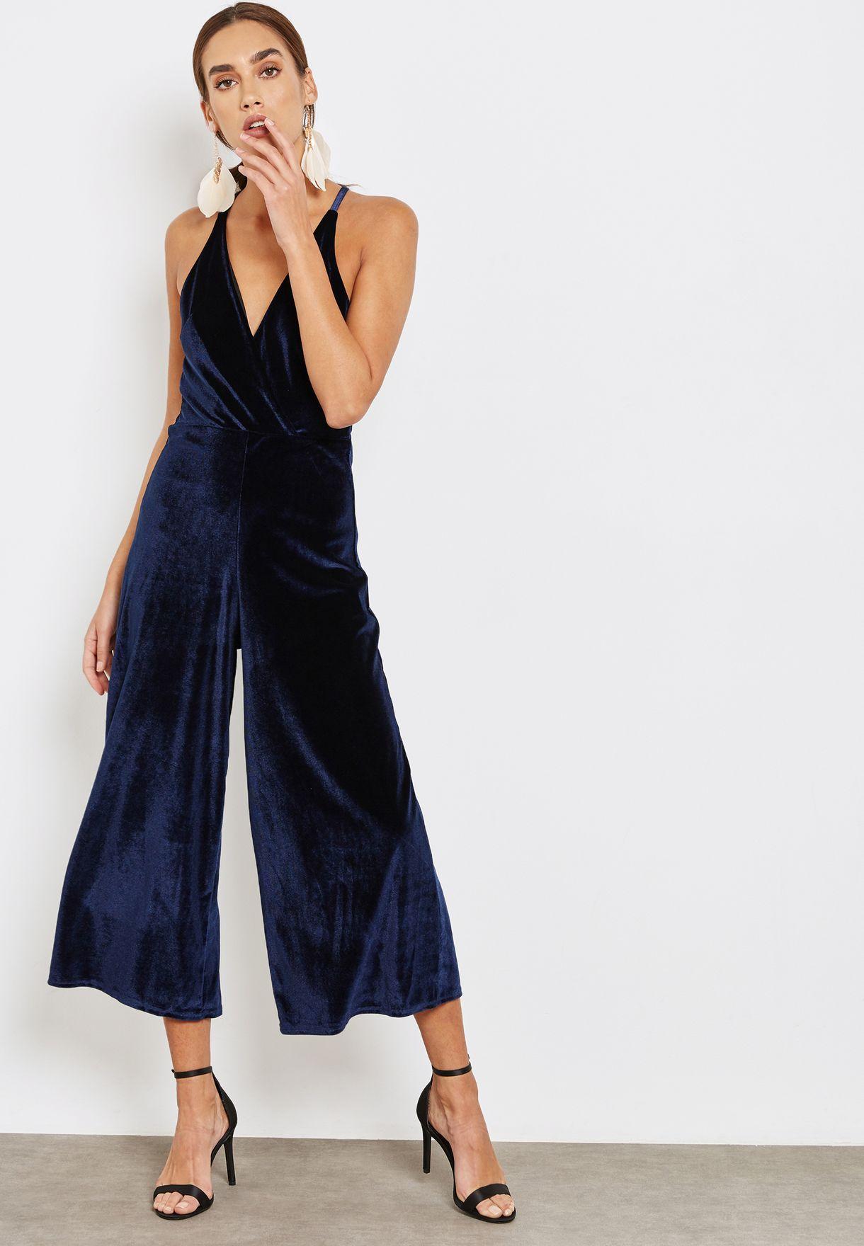 Buy Oh My Love Navy Velvet Jumpsuit For Women In Manama Other Cities Oml4405
