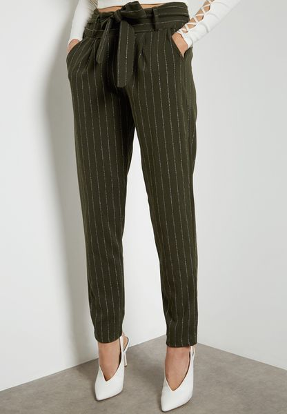 Shimmer Striped Self Tie Pants