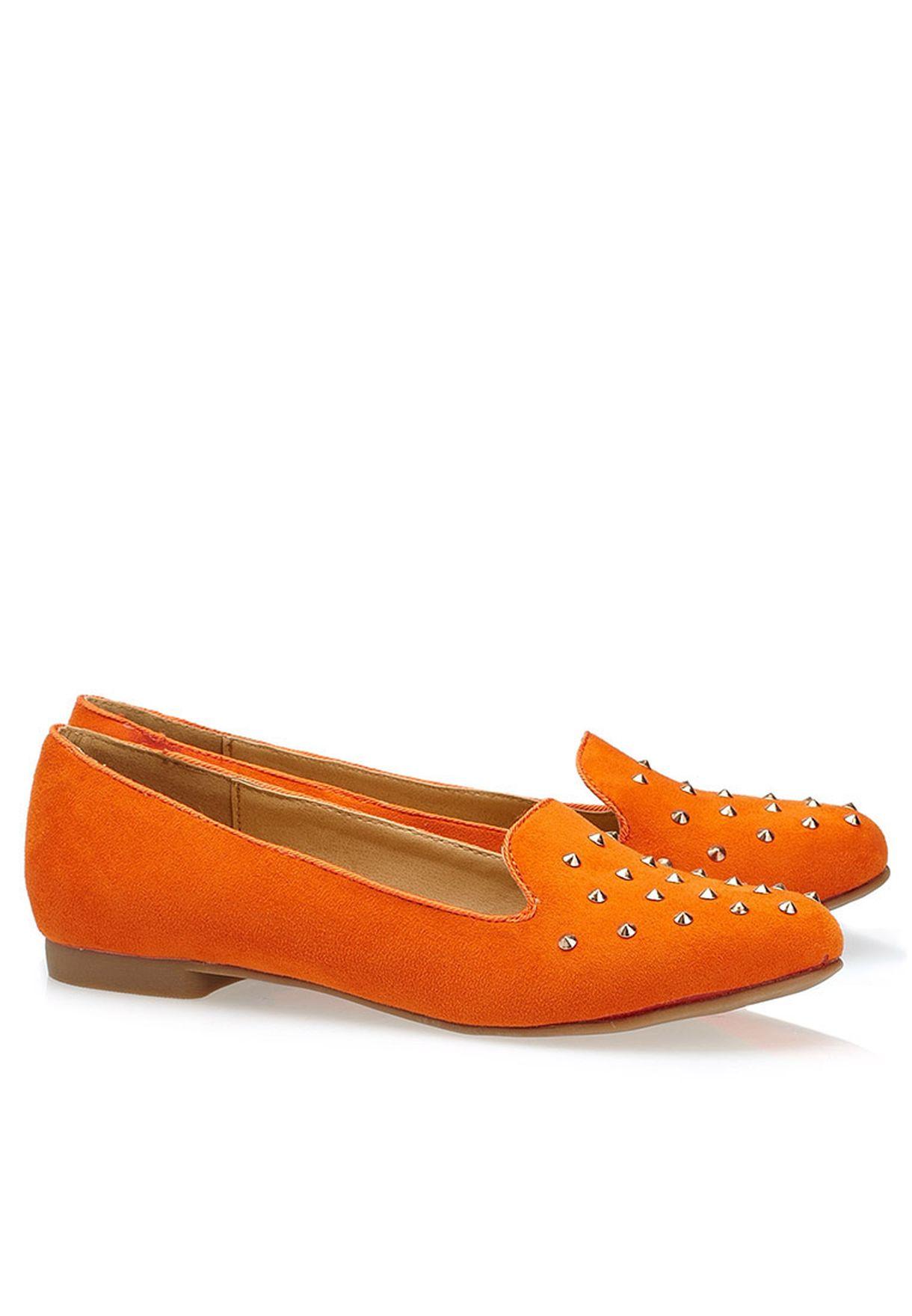 4b08cf185fd Shop Even odd orange Studded Loafers for Women in Oman - EV477SH25ABU