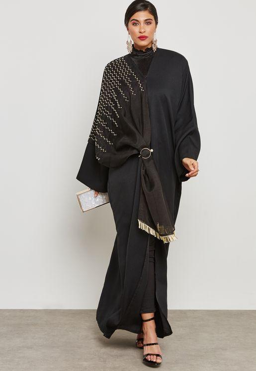Shawl Look One Side Embellished Abaya