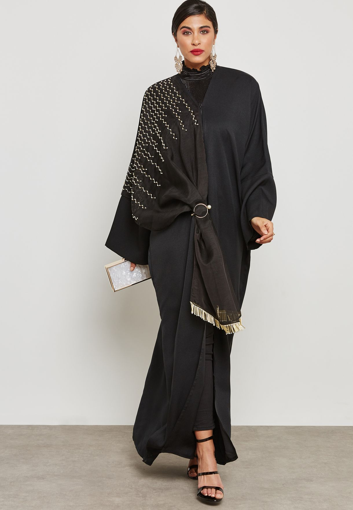 Shawl Look One Side Embellished Abaya
