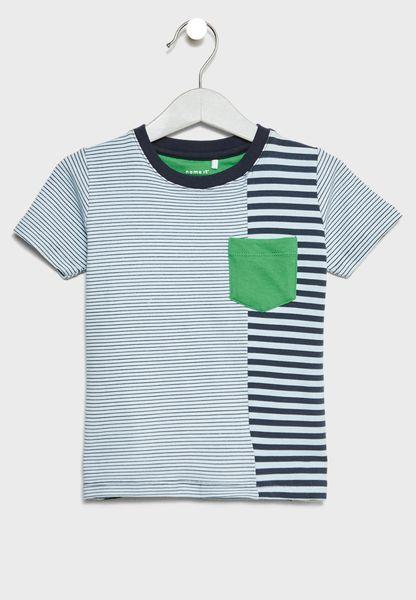 Striped Pocket Detail T-Shirt