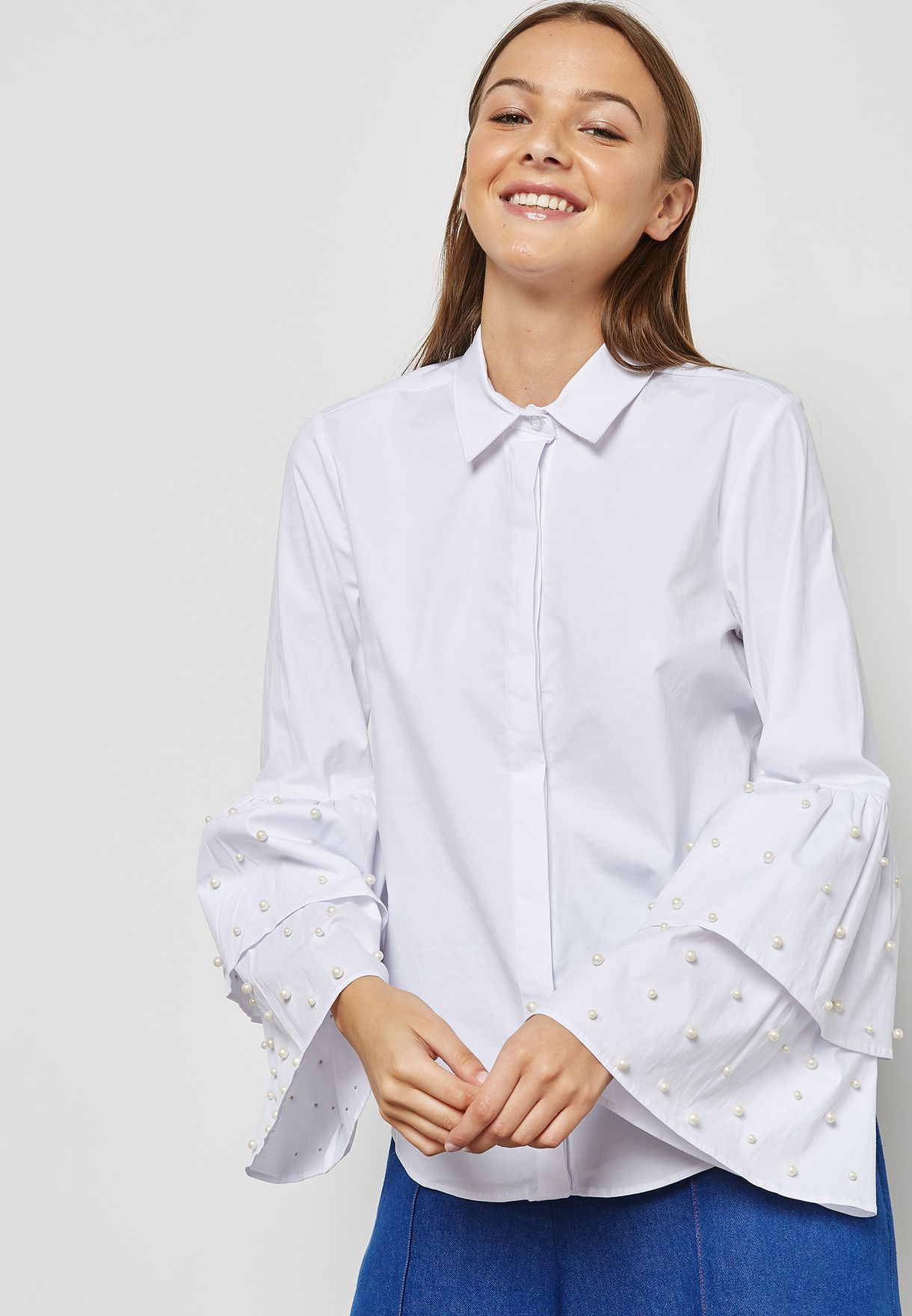 3642131b8a2 Shop Ginger white Pearl Tiered Sleeve Shirt TCLAW18CU0006 for Women ...