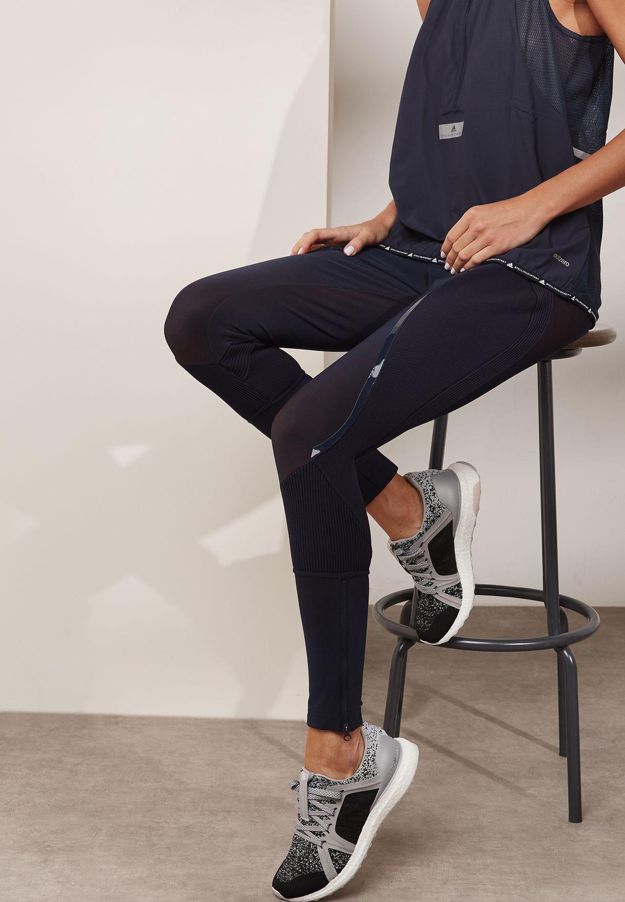 b654318360e02e Shop adidas by Stella McCartney navy Knit Mix Tights BQ8321 for ...