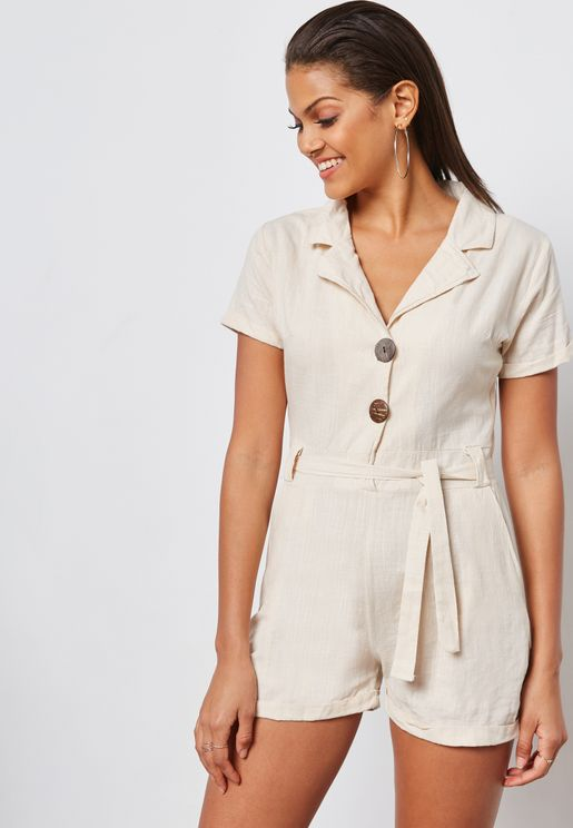 Self Tie Shirt Playsuit