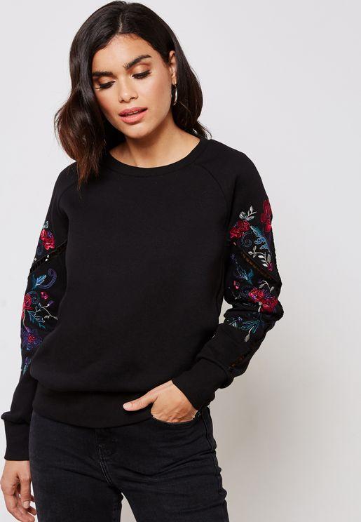 Embroidered Sleeves Sweatshirt