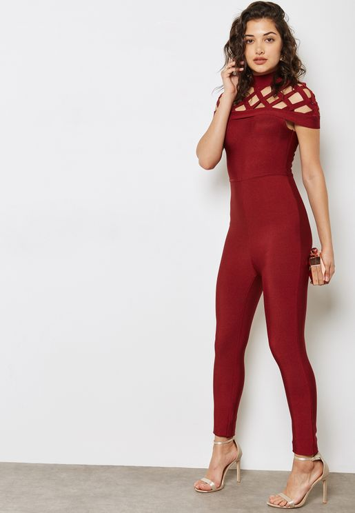 Bandage Lattice Jumpsuit