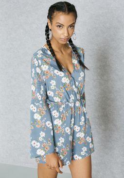 Floral Print Wrap Front Playsuit
