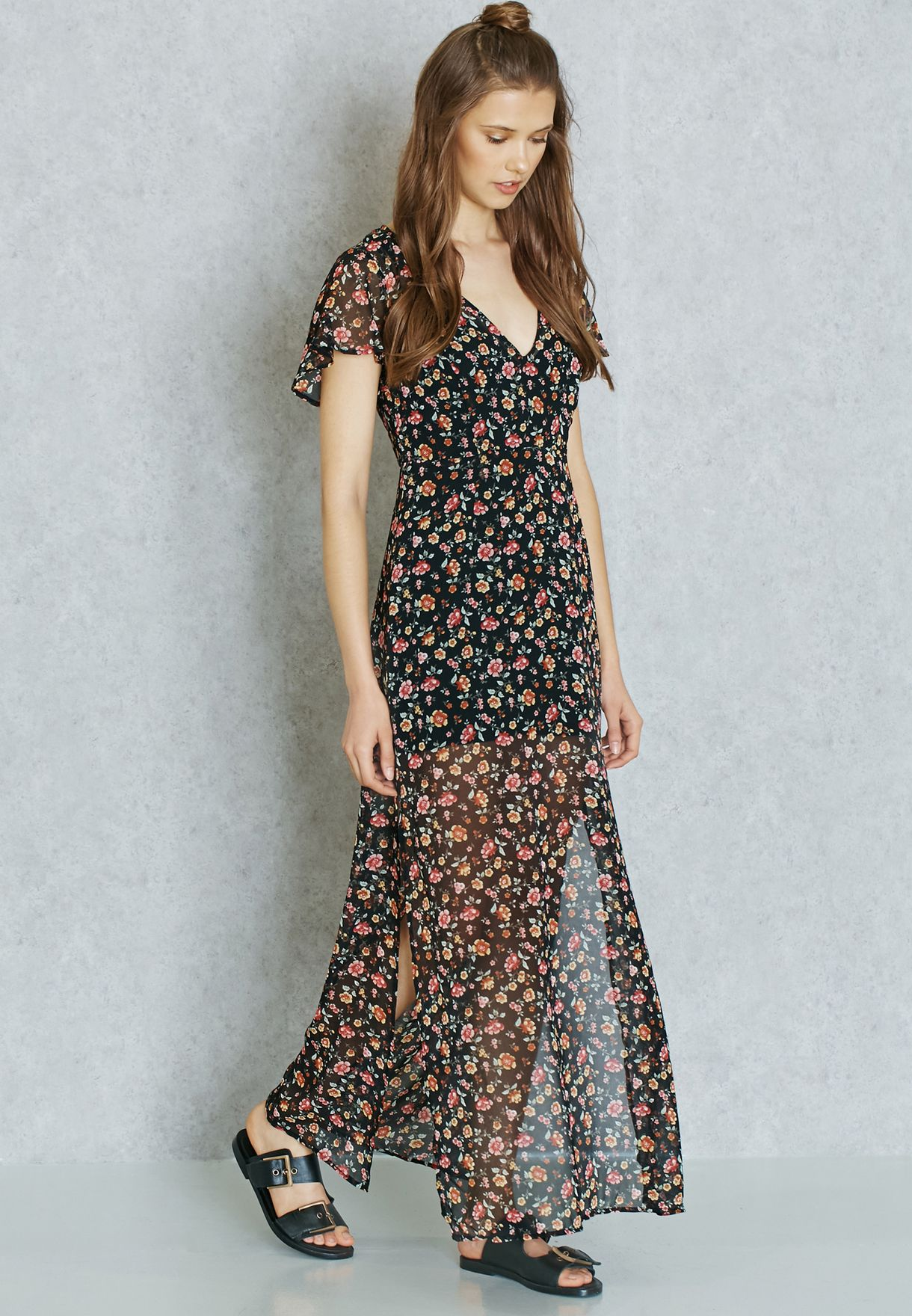 83ac3265e9 Shop Forever 21 prints Front Slit Maxi Dress 223724 for Women in ...