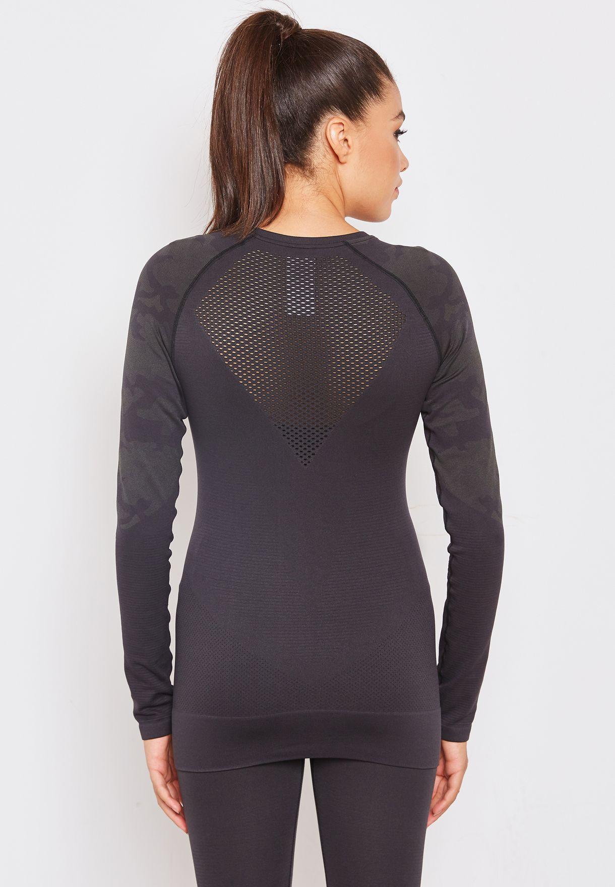 1125aa9528f90b Shop Reebok grey Thermowarm Seamless Sweatshirt CY2337 for Women in ...