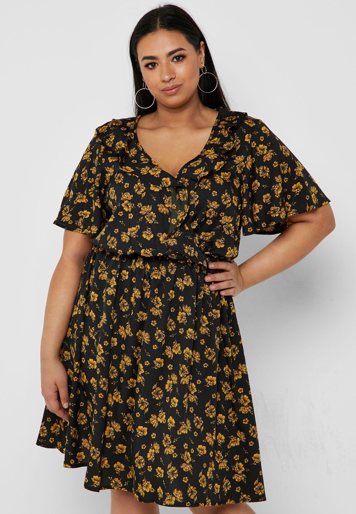 19bf4c17ac76bd Shop New Look Curve black Floral Print Ruffle Detail Dress 5977337 ...