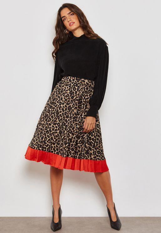 Leopard Print Contrast Hem Pleat Skirt