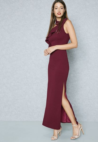 Ruffle Detail Slit Maxi Dress