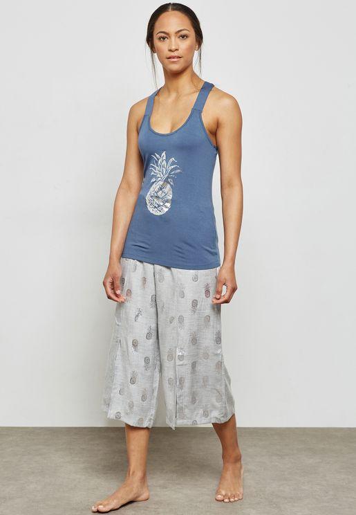 Pineapple Print Tank & Pyjama Set
