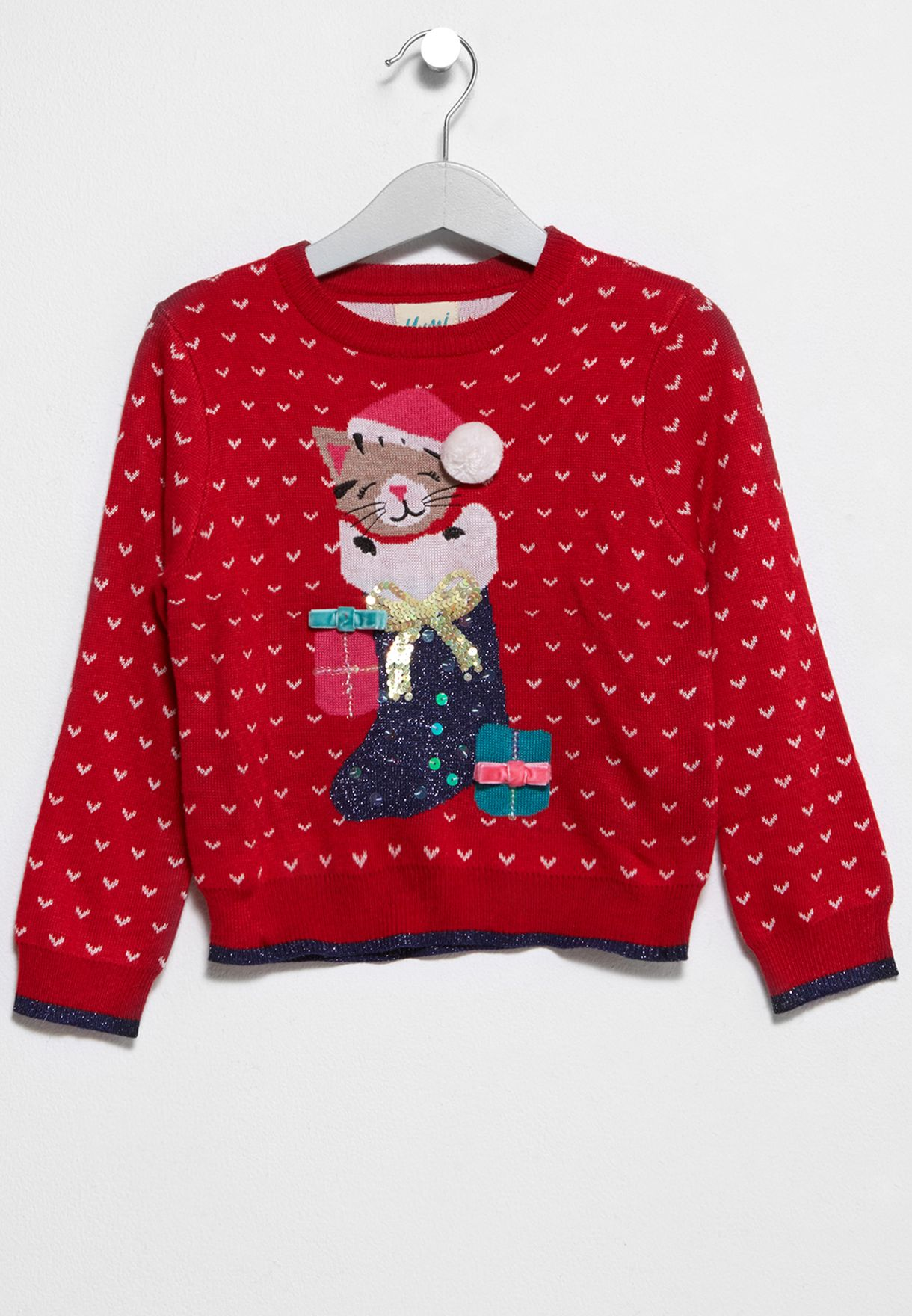 Kitten Christmas Sweater.Tween Kitten Christmas Sweater