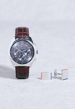 Analogue Watch + Cufflinks Set