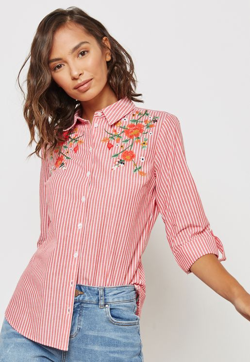 Floral Embroidered Striped 'Shirt