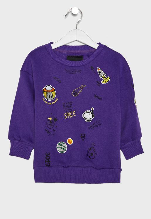 Kids Galaxy Motif Sweatshirt