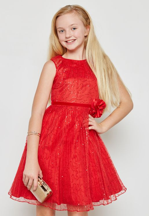 Poppy Red Sequin Dress