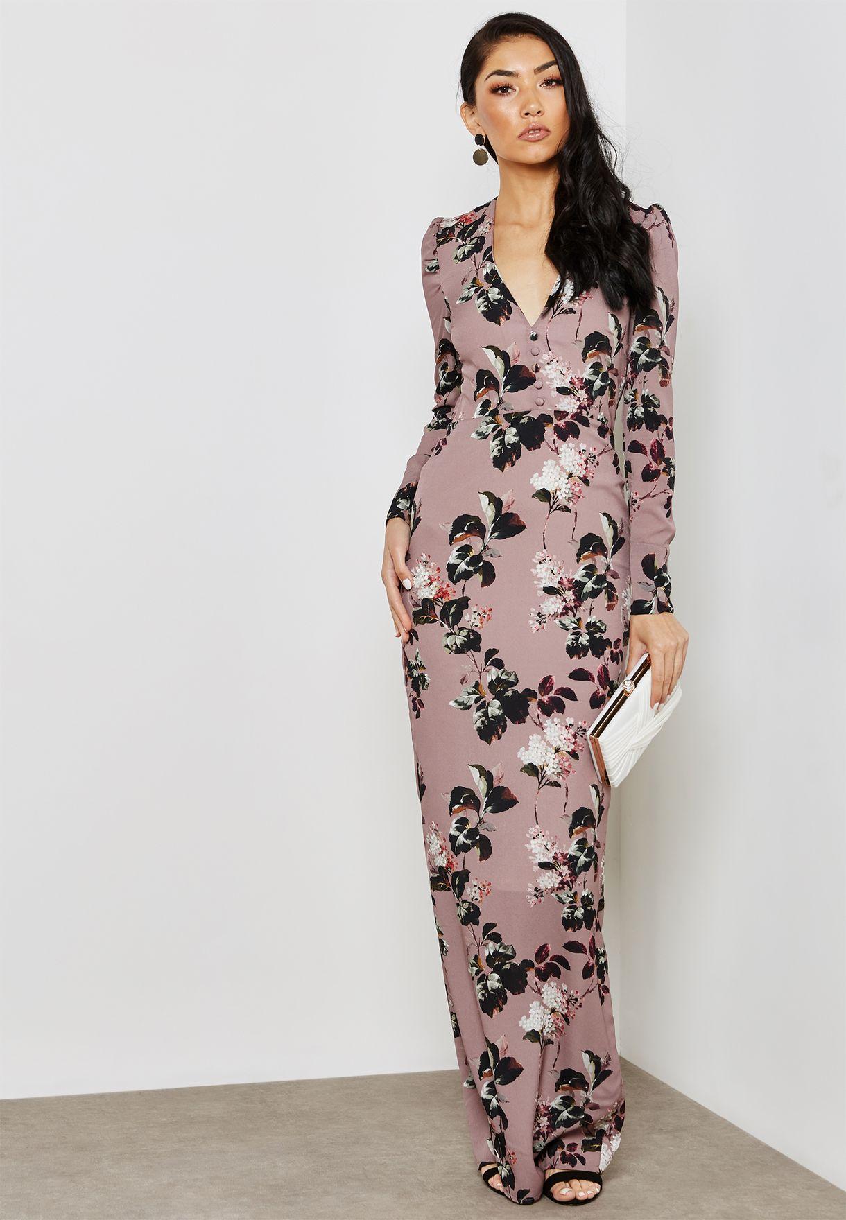 6e6e4a00c779 Shop Hope and Ivy prints Long Sleeve Plunge Floral Print Maxi Dress ...