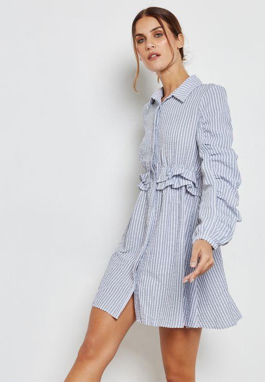 Ruffle Detail Striped Shirt Dress