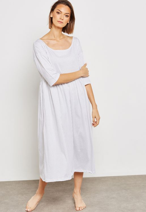 Striped Off Shoulder Nightdress