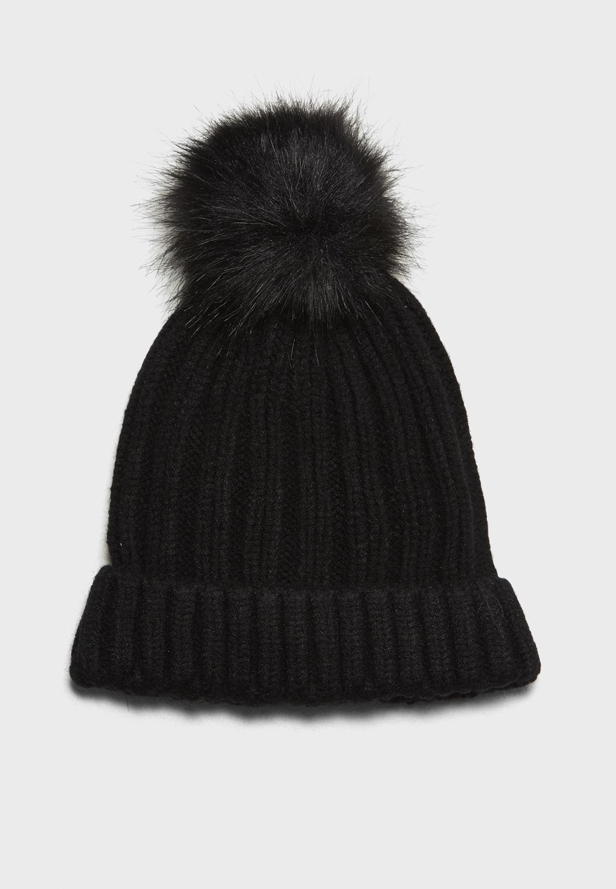 Shop Miss Selfridge black Faux Fur Pom Pom Beanie 49A11VBLK for Women in  Qatar - MI858AC15HTO 366d31e1c86