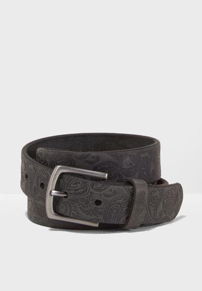 Leather Paisley Belt